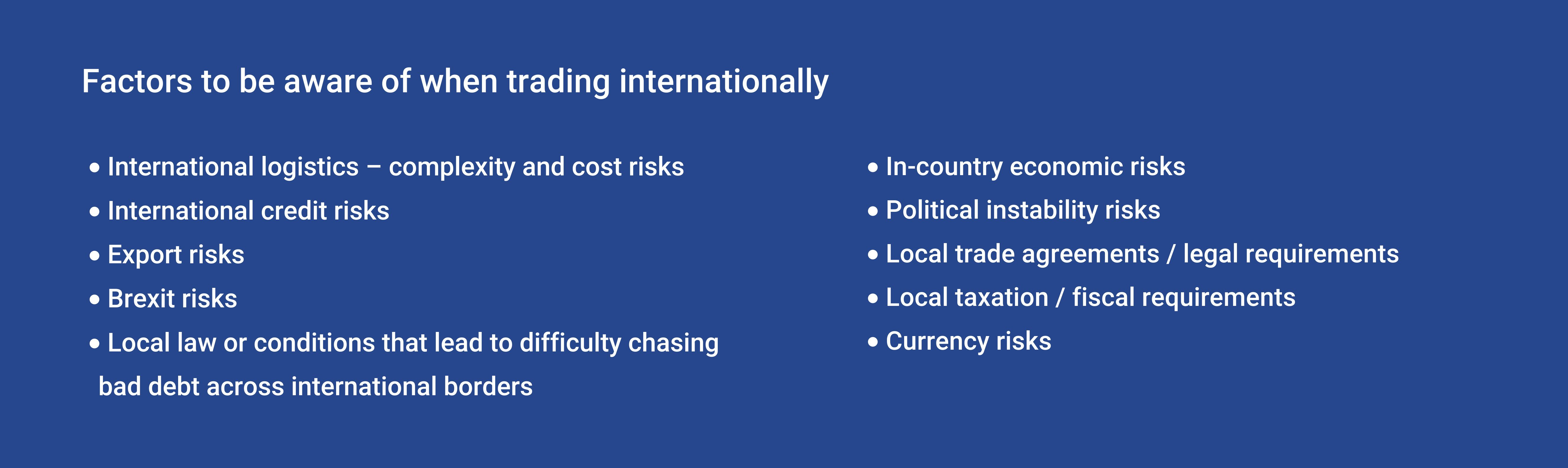 Factors to be aware of when trading internationally